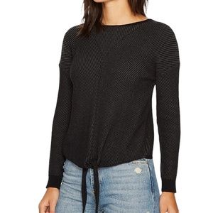 Lucky Brand black textured ribbed tie front sweater size M